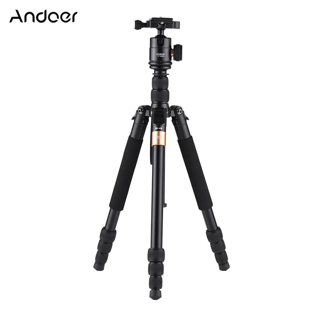 Andoer TP-668S Portable Aluminum Alloy Tripod Photography Travel Tripod Monopod For Canon Nikon Sony DSLR/ILDC Cameras