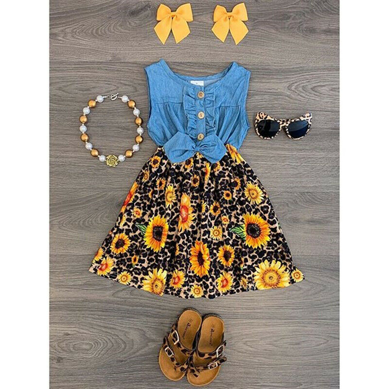 2020 Baby Summer Clothing Baby Girls Patchwork Dress Sunflowers Leopard Print Denim Sleeveless A-Line Dress