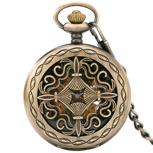 Image 5 - Bronze Hollow Mechanical Hand Winding Antique Pocket Watch Classic Antique Pocket Pendant Clock with Fob Chain