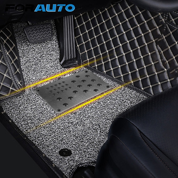 FORAUTO Anti-skid Pad Universal Car Floor Mat Foot Heel Scuff Plate Non-slip Carpet Patch Auto Alloy Plate Interior Accessories image