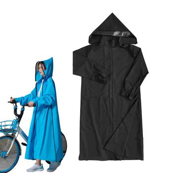 Przenośny EVA w dłuższym stylu płaszcz przeciwdeszczowy kobiety mężczyźni Zipper Poncho z kapturem kolarstwo płaszcz przeciwdeszczowy rowerowy wodoodporna odzież przeciwdeszczowa peleryna przeciwdeszczowa дождевк tanie i dobre opinie RainWear Rowerów odzież przeciwdeszczowa Single-osoby przeciwdeszczowa Płaszcze Dorosłych Wędkarstwo WOMEN Uniwersalny