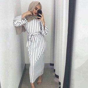 kleid Dubai Open Abaya Muslim Party dresses Women Kaftan Cotton Striped Turkish Islamic Arab Women Costume Casual Wear