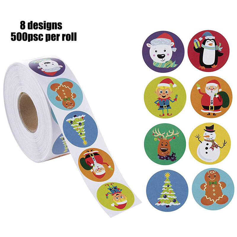 8 Designs Christmas Stickers 500pcs Per Roll Cartoon Reward Sticker Scrapbooking For Package Seal Labels Stationery Sticker