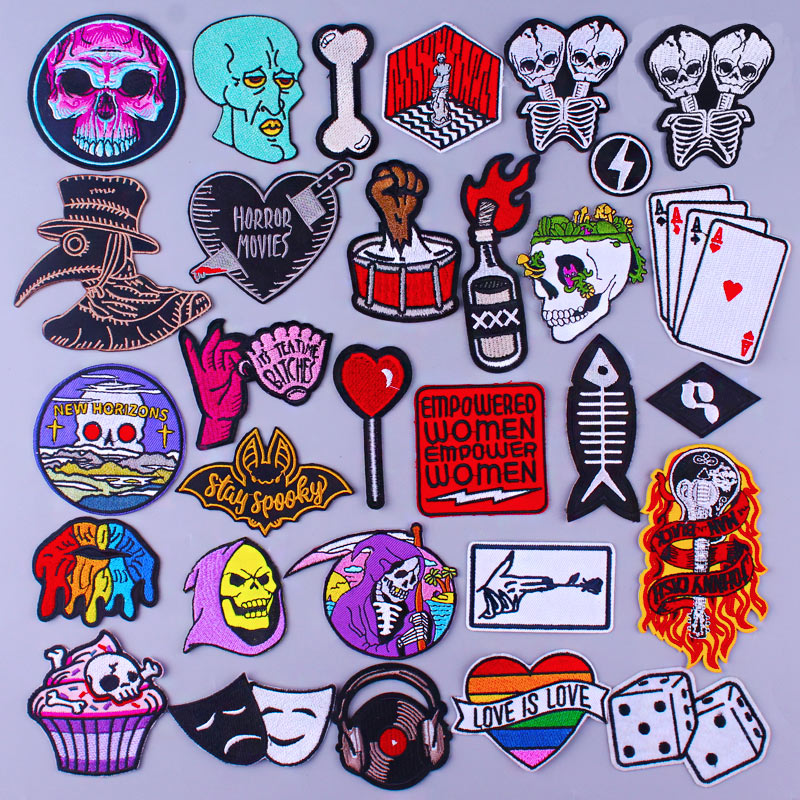 Punk Skull Patch On Clothes Embroidered Patches For Clothing Rock Stripe Patch Iron On Patches For Clothes Applique Stickers Diy Best Deal 8fa58b Cicig