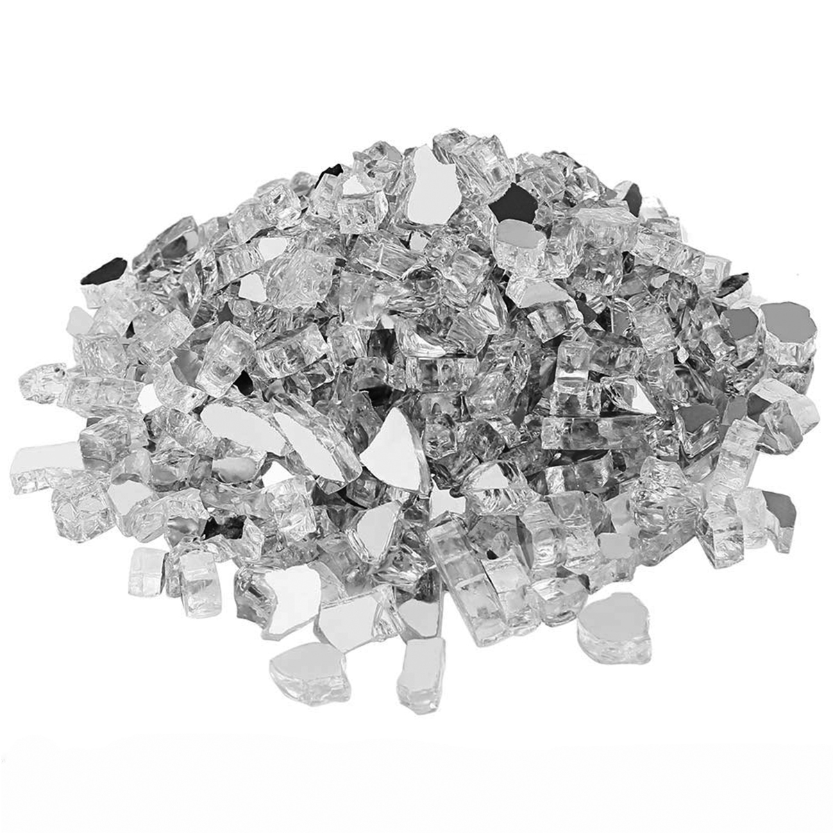 Hisencn Ultra White Fire Glass, 1.8KG And 1/2 Inch High Luster Reflective Tempered Glass Rocks For Natural Or Propane Fireplace
