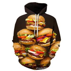 Burger Hoodie Hamburger 3D Print Sweatshirts Men Hip HOP Hoodies Outfits Coats Fashion Clothing Sweats Tops For Unisex S-5XL(China)