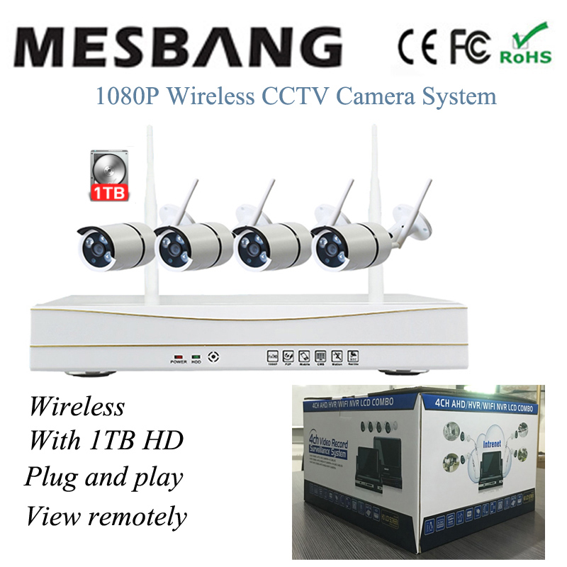 1080P wifi IP camera system wireless security camera system kits wifi CCTV 4ch NVR kits 2MP CCTV camera system build in 1TB HDD