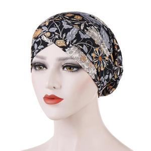 Image 4 - New Fashion Women Printed Sleep Night Cap Hat Ladies Hair Loss Cover Headscarf Turban Beanie Bonnet Islamic Muslim Headwear Caps