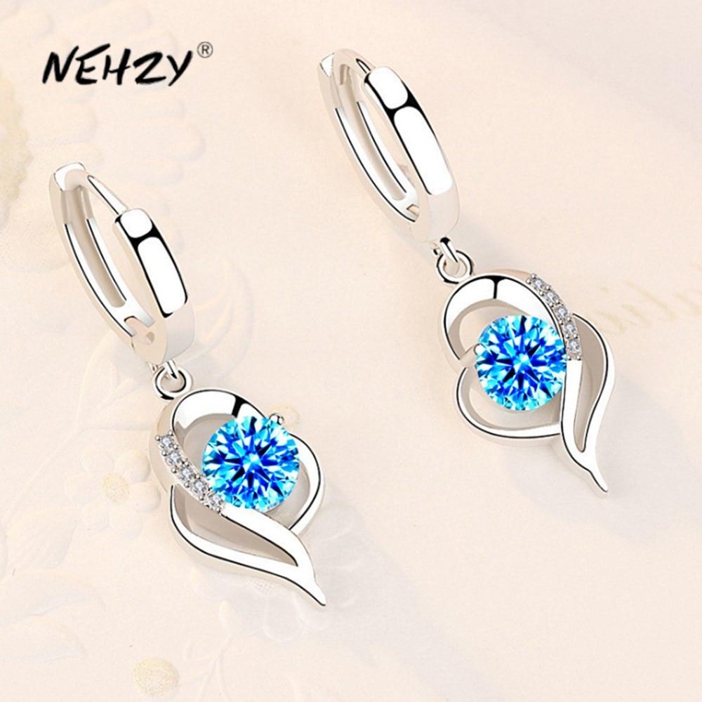 NEHZY 925 Plata de Ley Nueva joyería de moda de mujer de alta calidad azul Rosa blanco cristal púrpura de circón Venta caliente pendientes