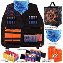 Tactical Vest Kit Kids Tactical Vest Leg Holster Refill Soft Bullets Foam Guns Supply for Nerf N-Strike Elite/Mega/Rival/Series