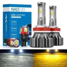 NAOEVO H4 H7 H11 led Fanless Car Headlight Light HB4 HB3 H9 H8 H10 5202 9005 9006 Mini Size Auto Fog Bulb 6000Lm 6000K Yellow