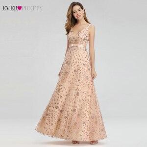 Image 2 - Elegant Rose Gold Evening Dresses For Women Ever Pretty EP00802RG A Line V Neck Bow Sahses Sparkle Party Gowns Robe De Soiree