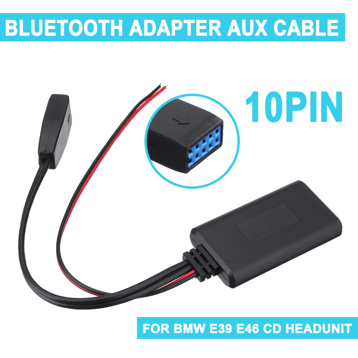 For <font><b>BMW</b></font> E39 E46 10-pin Adapter Audio CableCar <font><b>bluetooth</b></font> Module Auxiliary Receiver Cable image