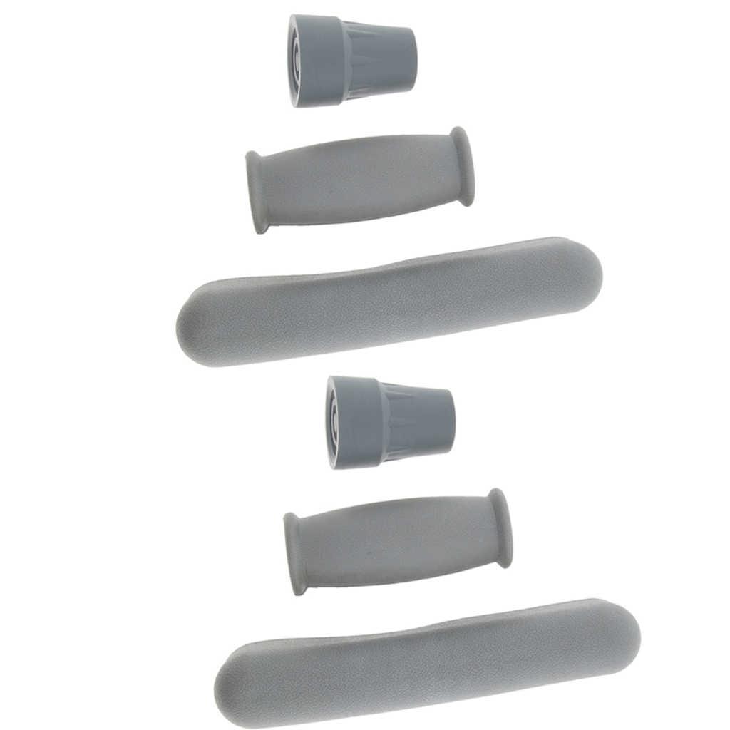 2 ערכות של קב אבזר ערכת רפידות החלפה, אנטי להחליק גומי השחי כריות, יד כידון, ו קביים טיפים רגליים Caps