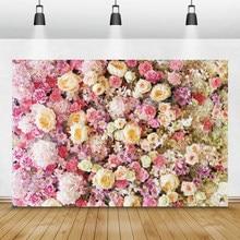 Laeacco – arrière-plan de photographie de scène de mariage, mur de roses romantiques, arrière-plan pour Portrait de nouveau-né, Studio Photo
