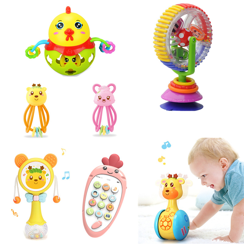 Baby Rattles Music Mobile Toys 0-12 Month Tumbler Story Machine Teether Gift Baby Handbell Education Learning Toys For Children