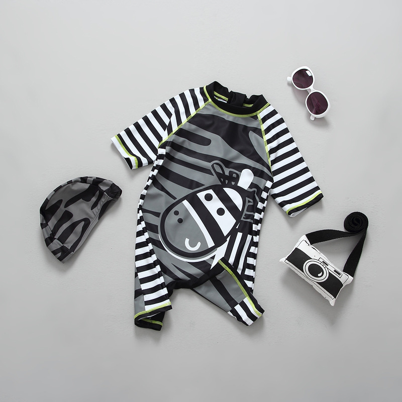 KID'S Swimwear BOY'S Sun-resistant Stripes Ban Ma One-piece Quick-Dry Sun-resistant Fashion-Japanese And South Korean Style