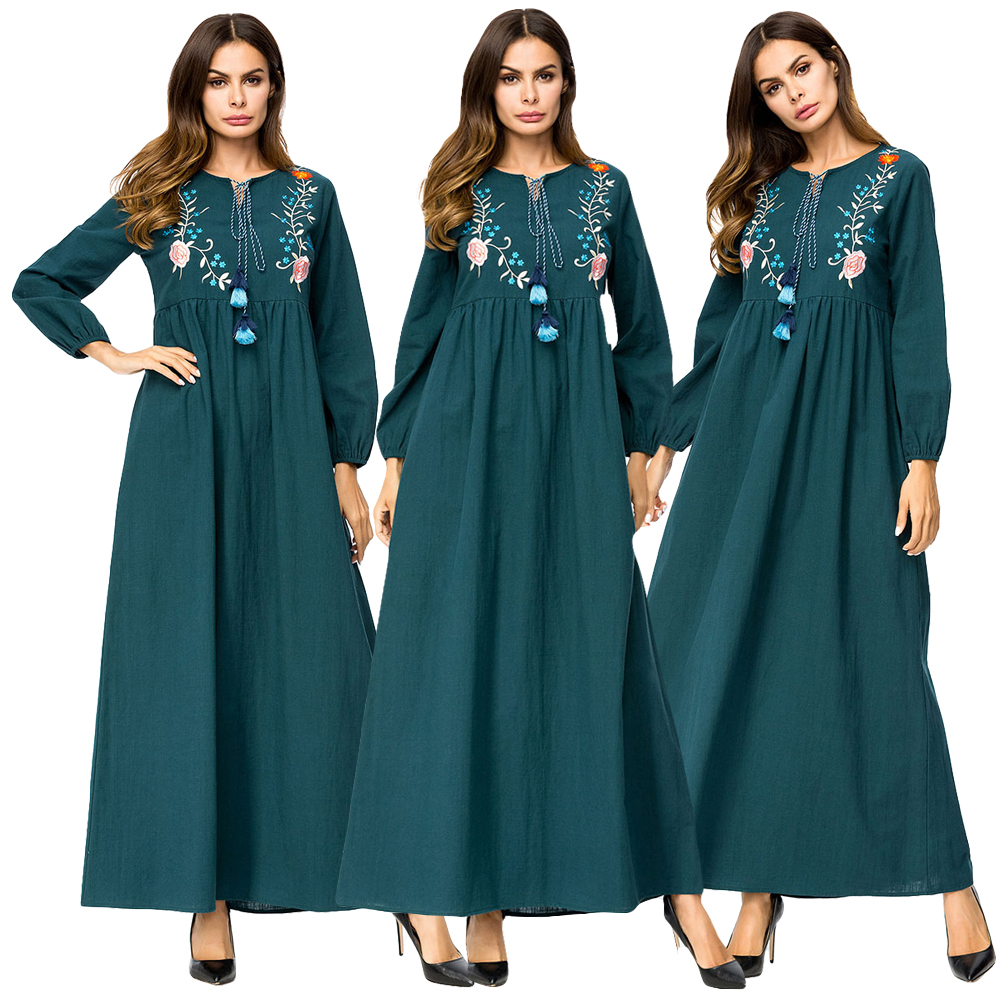 Dubai Muslim Women Embroidery Dress Ethnic Style Tassel Kaftan Jilbab Long Maxi Gown Drawstring Draped Design Abaya Long Sleeve