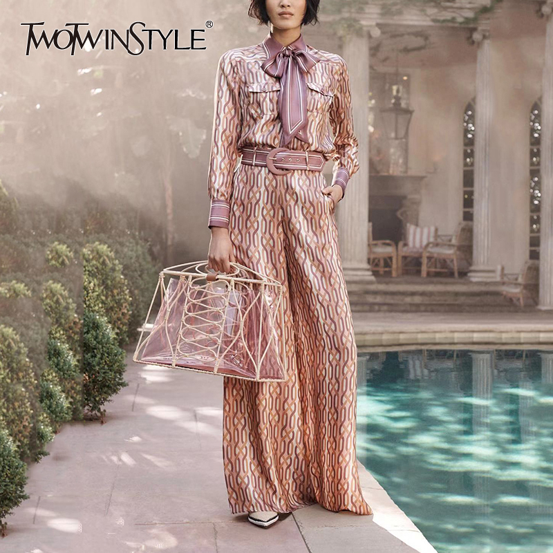 TWOTWINSTYLE Print Geometric Two Piece Set Female Lapel Collar Shirt High Waist Wide Leg Pants With Sashes Women's Suit 2019 New