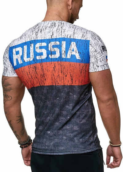 夏 2020 ロシアの旗男性のカジュアルファッションtシャツラウンドネッククールな光男性のtシャツ
