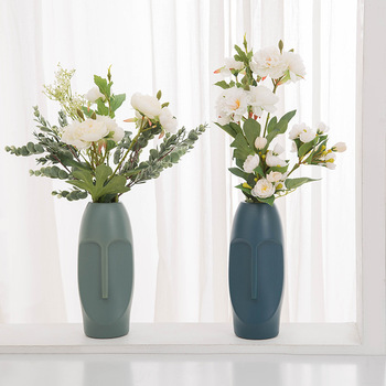Flower Vase Decoration Home Plastic Vase White Imitation Ceramic Flower Pot Flower Basket Nordic Decoration Vases for Flowers image