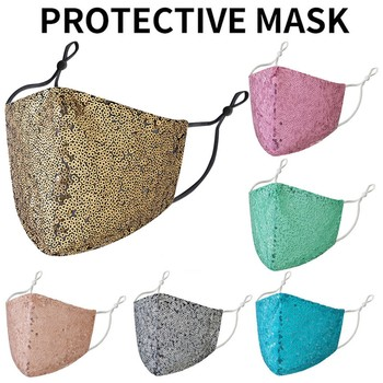 Adult Mouth Face Sequin Masks Pink Woman Masker Mouth Cover Mascarillas Rosa Reutilizable Masques Lavable Maske Mascherine Mackn