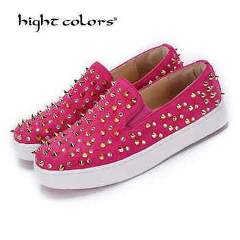2020 Women Flats Shoes Casual Studded Flats Luxury Brand Rivet Loafers unisex Shoes Slip On Big Size 41 42 43 44 spikes studded фото