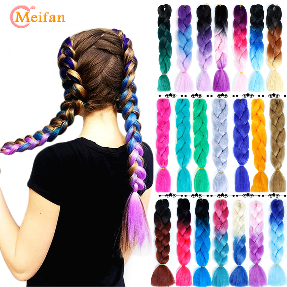 MEIFAN Synthetic Hair Braids Ombre Braiding Hair Extension Box Braids Hair Pink Purple Blue Colors Crochet Braids Hair