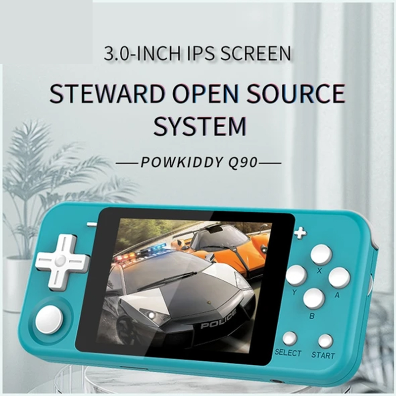 Powkiddy Q90 Retro Game Handheld, 3 inch IPS screen portable game console, Open Dual System PS1 game player q90