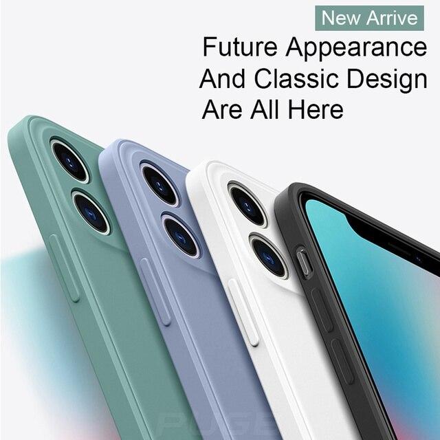 Luxury Orignal Square Edge Soft Liquid Silicone Case For iPhone 12 11 Pro XS Max Mini X XR 6S 7 8 Plus SE 2020 Shockproof Cover 4