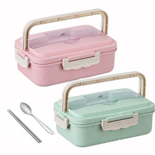 Bento Lunch Lunch Box Thermal Portable Cutlery Tiffin Box Lunch Box For Kids Container Wheat Straw Lunch Box(China)