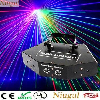 Six-eye Fan-Shaped RGB Scan Laser/DMX512 Linear Beam Stage Effect Lighting/Laser Show System /6 Lens Disco Laser Light Scanner