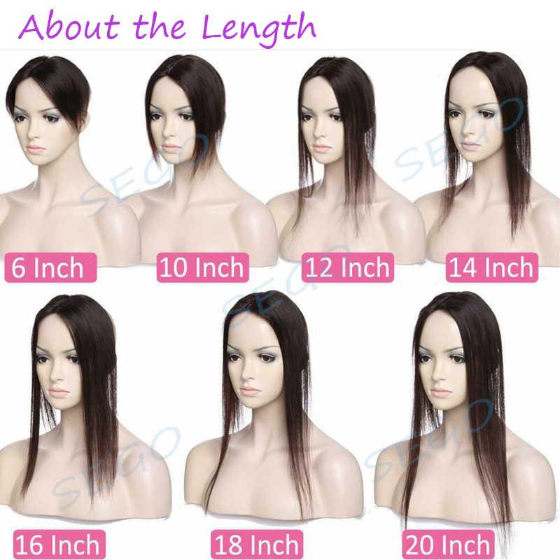 """SEGO 6 """"-20 6*9 прямая шелковая основа волос Топпер парик из натуральных волос для женщин чистый цвет не Реми женщин парик с двойные узлы"""