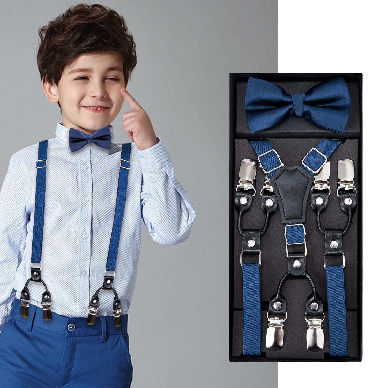 Kids Navy Suspenders Set Boys Girls Wedding Bow Tie Elastic Suspender Sets Children Adjustable Y-Back Brace Belt DH-015 DiBanGu
