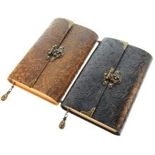 Embossed Pattern Soft Leather Travel Notebook with lock Key Diary Notepad Kraft Paper for Business Sketching Writing