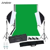طقم الإضاءة التصوير Andoer مع خلفية الاستوديو حامل أسود أبيض أخضر خلفية 125 واط مصابيح كهربائية سوفت بوكس الإضاءة-في ملحقات استوديو الصور من الأجهزة الإلكترونية الاستهلاكية على