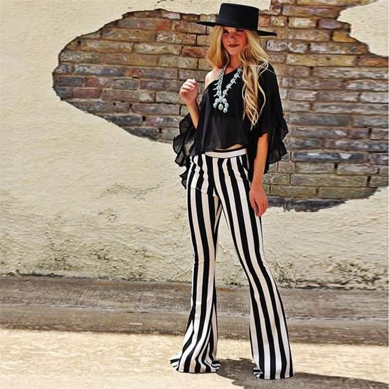 NCLAGEN Street Fashion Striped Flare Pants Women Fitness Skinny Casual Trousers Vintage Black Sweat Pant Female Capris Pantalons