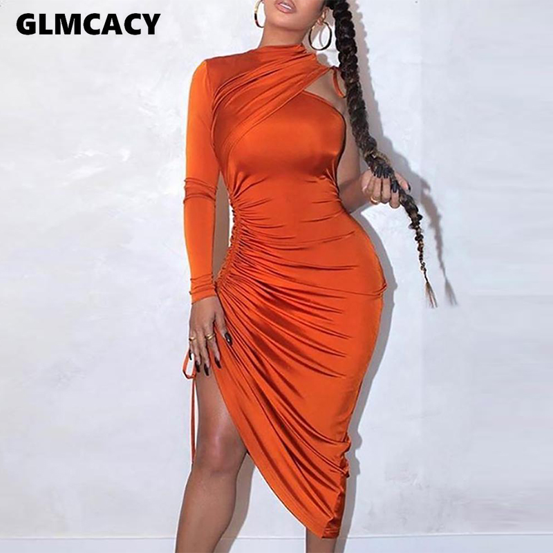 Women One Shoulder Drawstring Ruched Dress Sexy & Club Solid Slim Night Out Asymmetrical Party Dresses