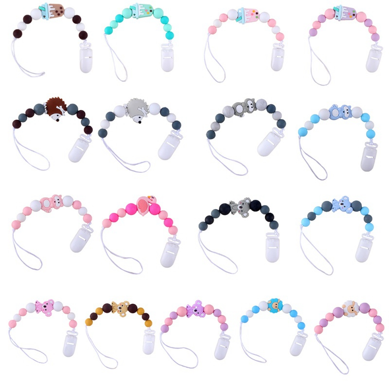 New Baby Pacifier Clip Baby Pacifier Chain Cartoon Shape Cute Colorful Beads Dummy Clip Baby Soother Holder For Kid
