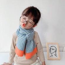 Новый корейский стиль зимние детские вязаные шерстяные клетчатые