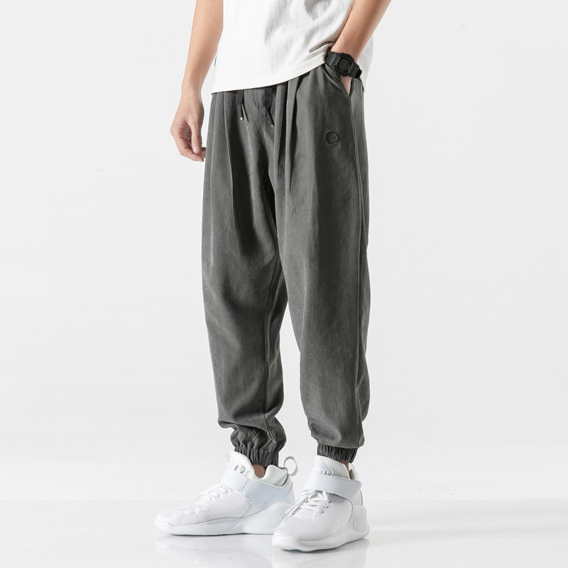 Dad Baggy Pants Men's Loose-Fit Beam Leg Harem Pants Pendant Sense Trend Woolen Pants Men's Street Hiphop
