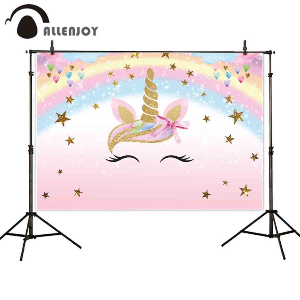 Allenjoy пастельный фон для детской вечеринки с изображением золотого единорога, радуги, звезд, боке, сердец, для фотосъемки девочек на день рождения