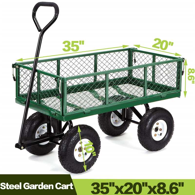 Garden Carts Yard Dump Wagon Cart Lawn Utility Cart Outdoor Steel Heavy Duty Beach Lawn Yard Landscape image