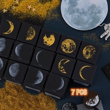 7Pcs Phases of The Moon Wooden Rubber Stamps, Decorative Mounted Rubber Stamp Set for DIY Craft, Letters Diary and Scrapbooking