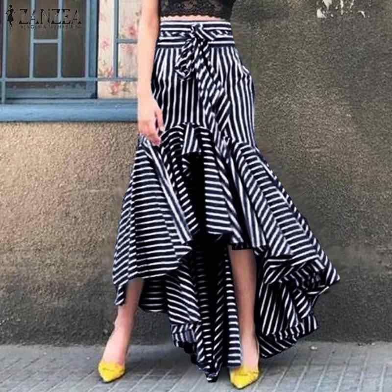 Fashion Zanzea Women High Waist Striped Skirts Spring High Low Ruffles Skirt Faldas Mujer Asymmetrical Hem Skirts Casual Jupe Aliexpress