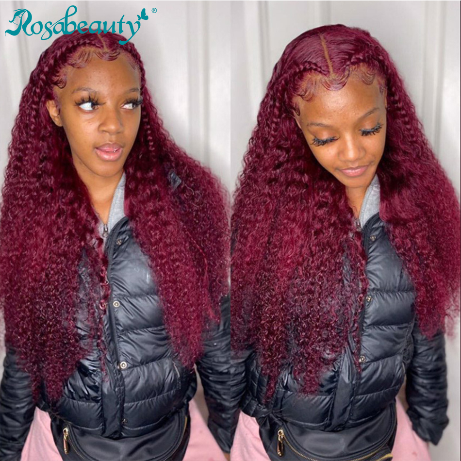 Rosabeauty Deep Wave Lace Front Human Hair Wig Pre Plucked Water Curly Brazilian Colored Burgundy Frontal Wigs For Black Women