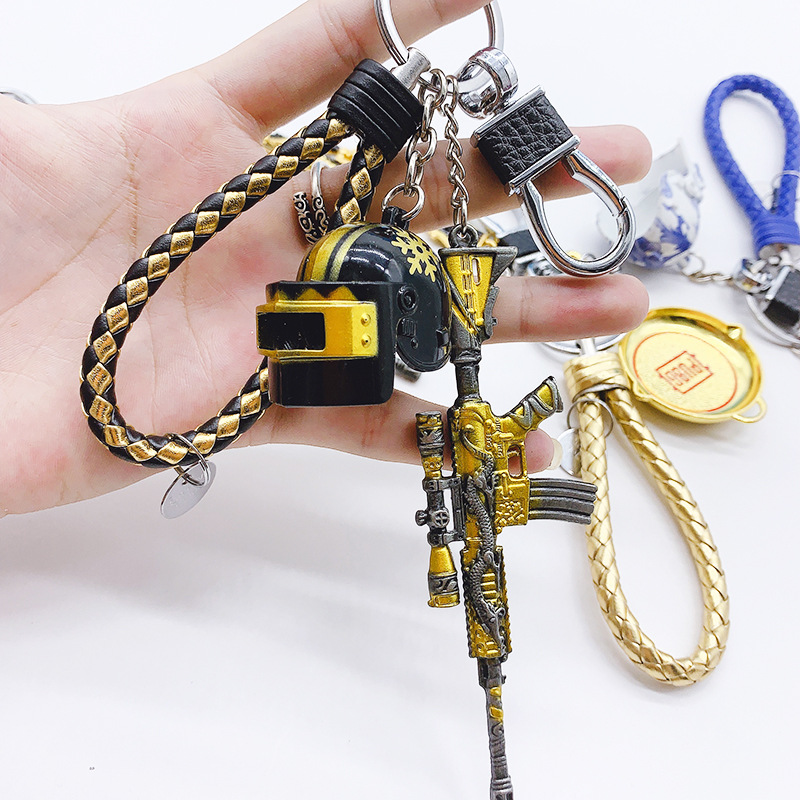 PUBG Gold Three-Piece KeyChains Set Of Gold Keel M416 Key Chain Model Three-Level Helmet Armor Male Creative Gift Key Ring