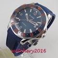 41 millimetri Bliger quadrante blu lunetta in ceramica vetro zaffiro data Meccanico automatico mens watch
