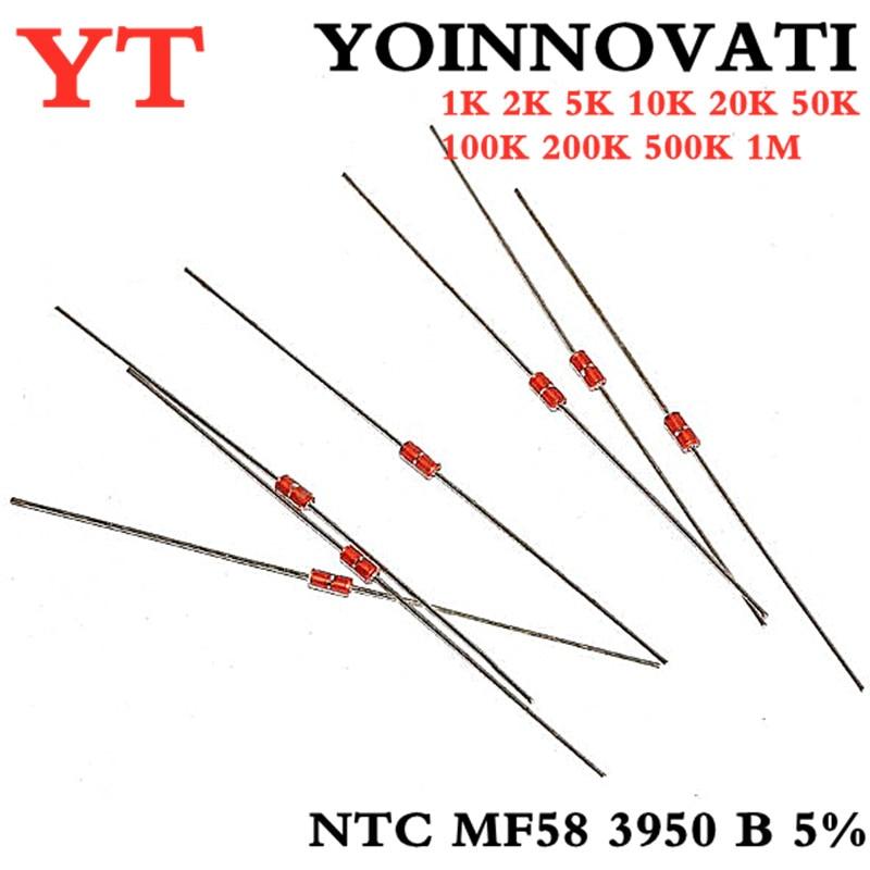 Тепловой резистор NTC MF58 3950 B 5% 1K 2K 5K 10K 20K 50K 100K 200K 500K 1M 1/2/3/5/10/K Ohm R термистор Сенсор