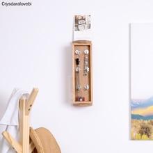 Coat-Hook-Hanger Wall-Hanging-Storage Entrance Oak-Rotating Solid-Wood White Full Vanity-Mirror